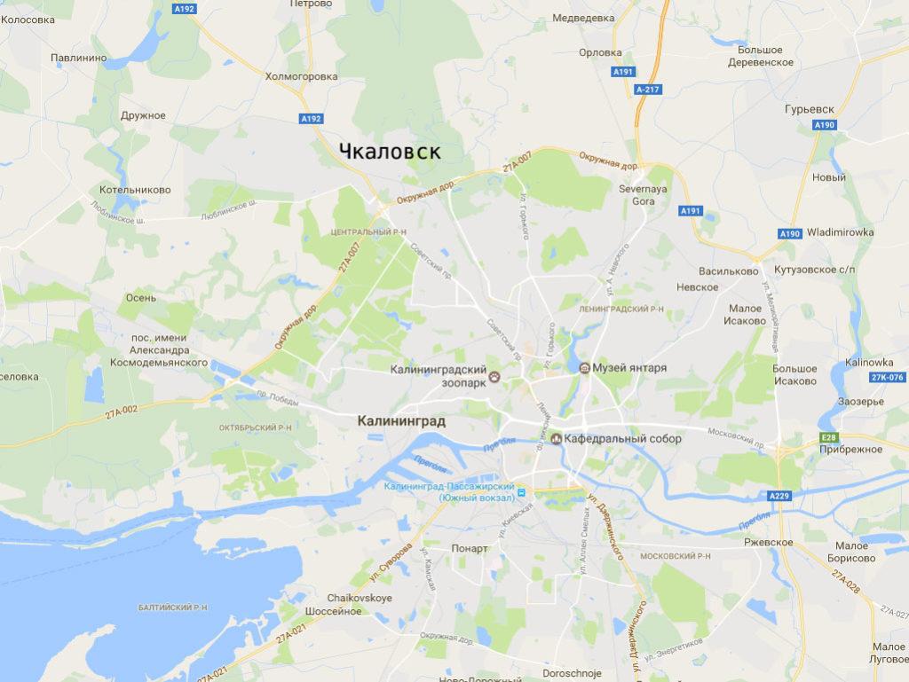 Чкаловск на карте Калининградской области