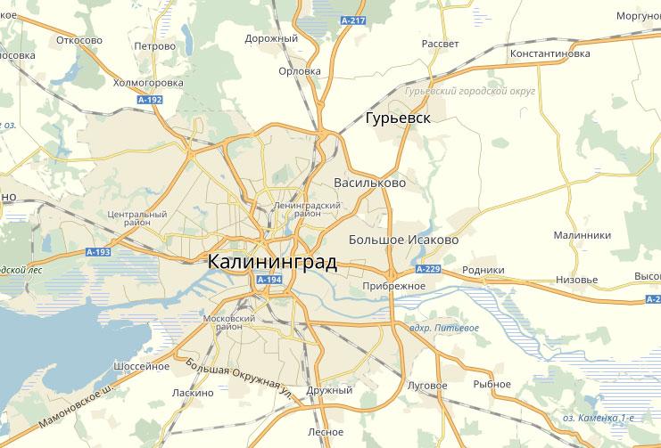 Гурьевск на карте