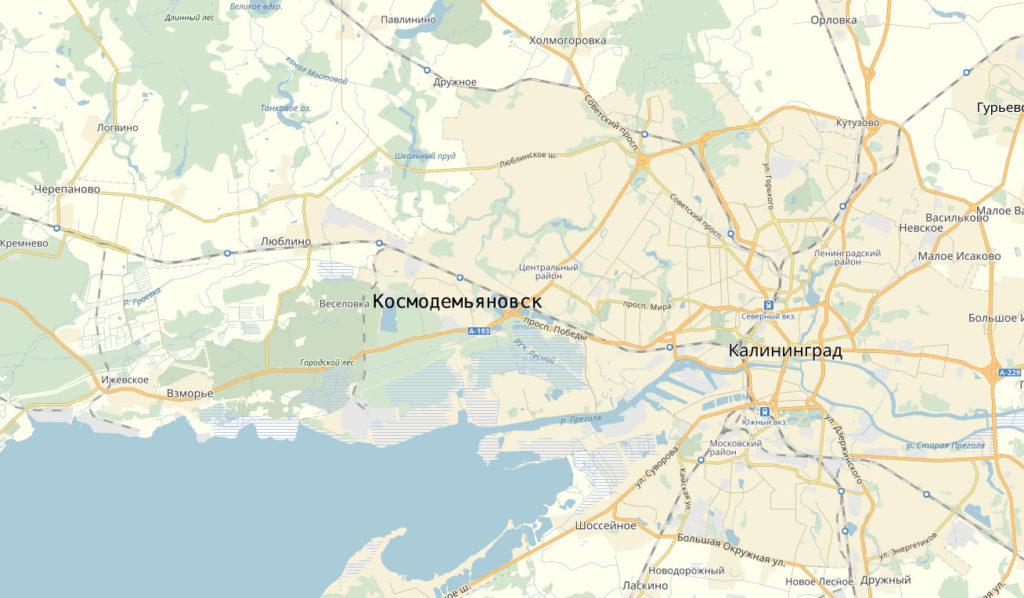 Карта поселка Космодемьяновск