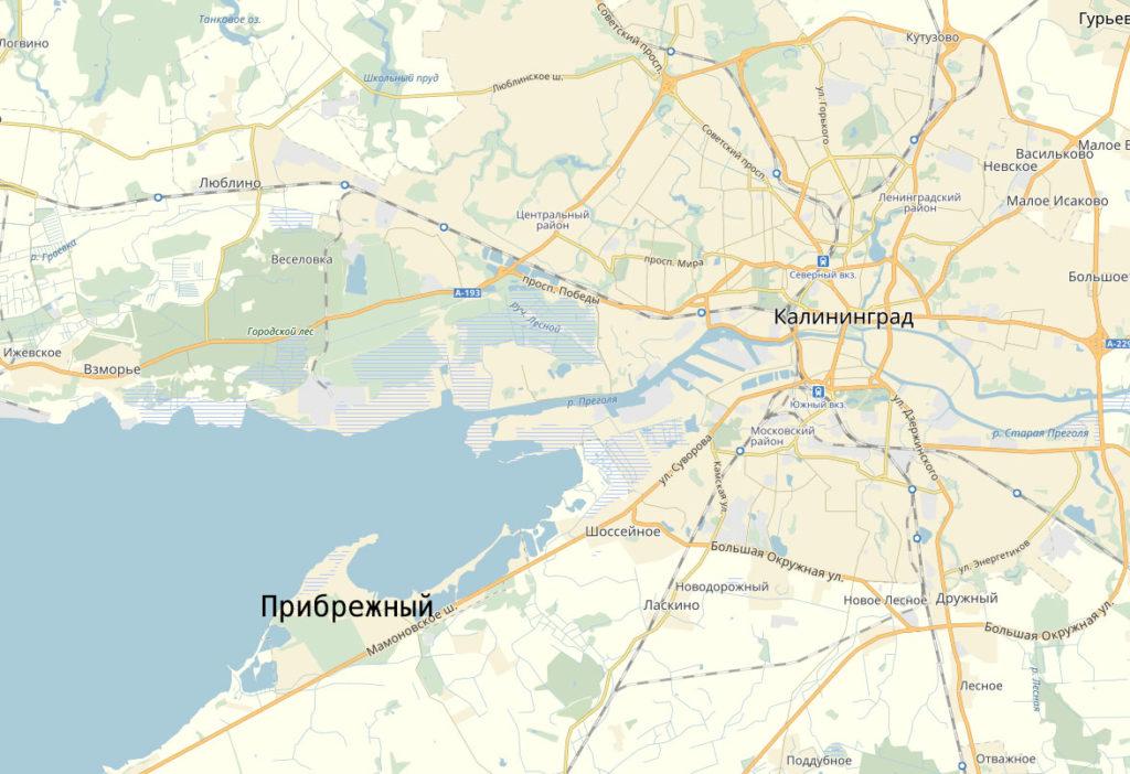 Поселок Прибрежный на карте